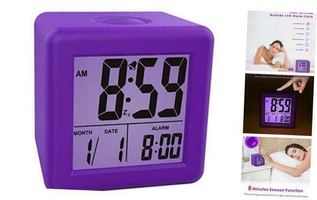 Plumeet Digital Alarm Clocks Kids Clock With Snooze And Purple Nightlight Ea Ebay In 2020 Clock For Kids Digital Alarm Clock Alarm Clock