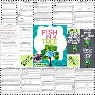 Fish in a Tree This is a great lesson/activity for children to follow the book an understand what is going on.  For every five chapter, the student is given a five question quiz.