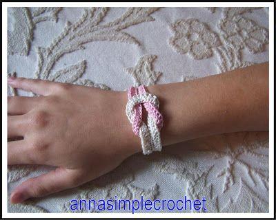 Annasimplecrochet: Bracelet that is feminine in pink ...free pattern!