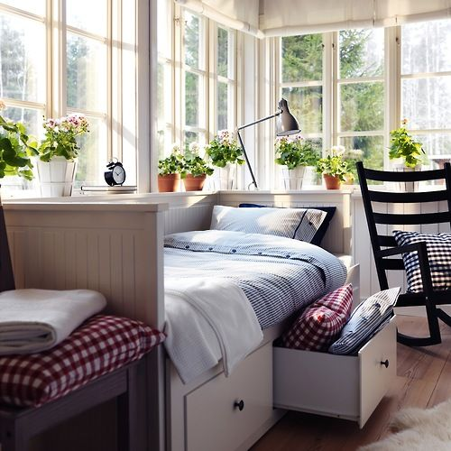 I love the idea of a sleeping porch! Use a day bed with pillows for company or reading and use for sleeping in the summer.