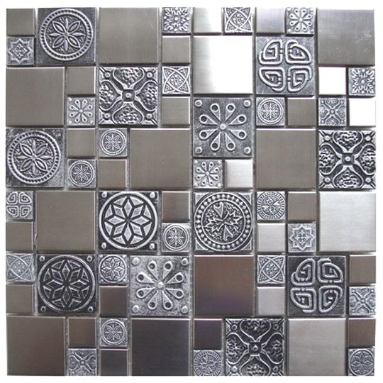 Roman Pattern Stainless Steel And Pewter Accents Tile EMT_262-MIX-SM   $23