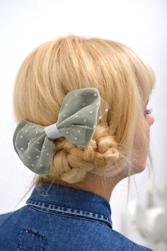 Mint velvet hair bow tulle bow golden polka dots von PollyMcGeary, €45.00