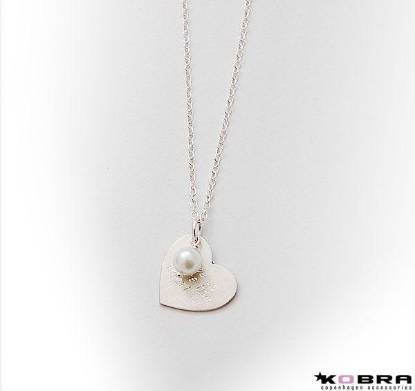 ID Love Tag, hjerte halskæde i sølv inklusiv gravering og perle