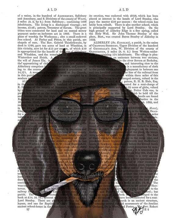 Beatnik Dachshund Print Wall Art Art Giclee Print by FabFunky, $15.00