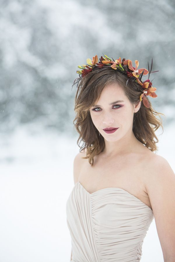 Autumn Orchid Floral Crown for a Snowy Winter Bridal Shoot   Angela Hubbard Photography   See More! http://heyweddinglady.com/winter-queen-snowy-bridal-portraits-by-angela-hubbard-photography/