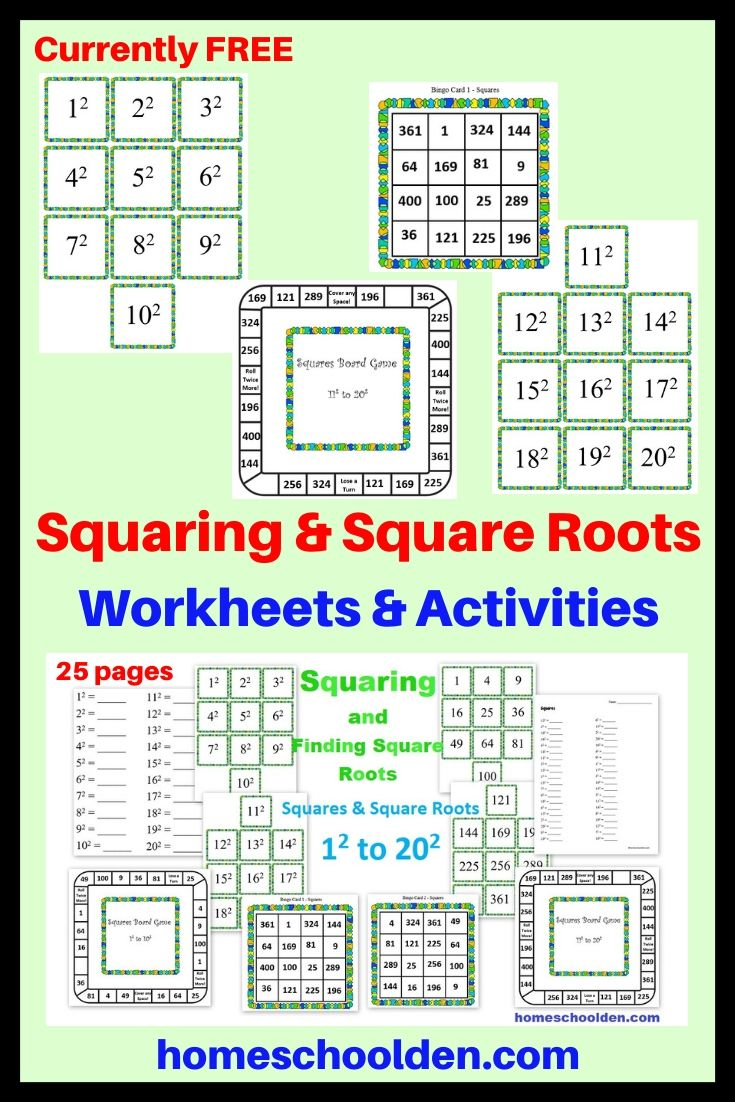 Squaring And Square Roots Packet Square Roots Elementary Math Lessons Homeschool Curriculum Planning