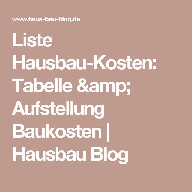 Liste Hausbau-Kosten: Tabelle & Aufstellung Baukosten