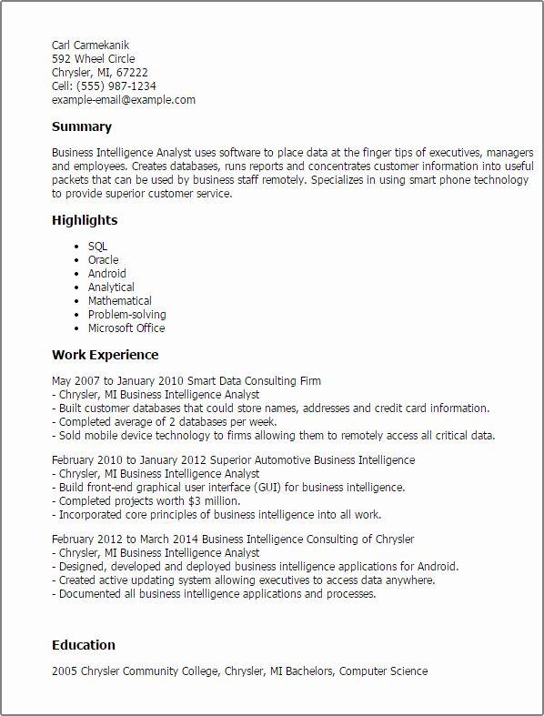 Business Analyst Resume Summary Inspirational Professional Business Intelligence Business Analyst Resume Business Resume Template Business Intelligence Analyst