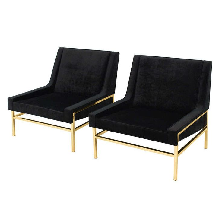 Pair of Slipper Chairs with Polished Brass Bases by Harvey Probber | From a unique collection of antique and modern slipper chairs at http://www.1stdibs.com/furniture/seating/slipper-chairs/