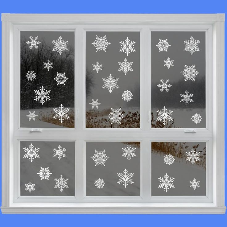 42 Elegant Snowflake Window Clings - Quick and Simple Christmas Decorations - Gl