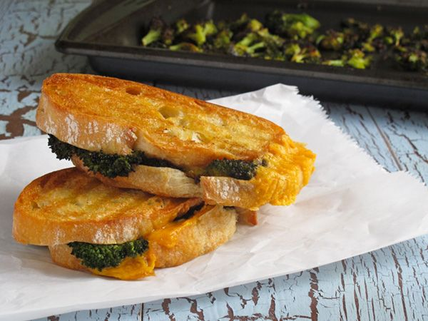 A recipe for Roasted Broccoli Grilled Cheese Sandwich- dress up this comfort food just a bit and it becomes even more dreamy and delicious.