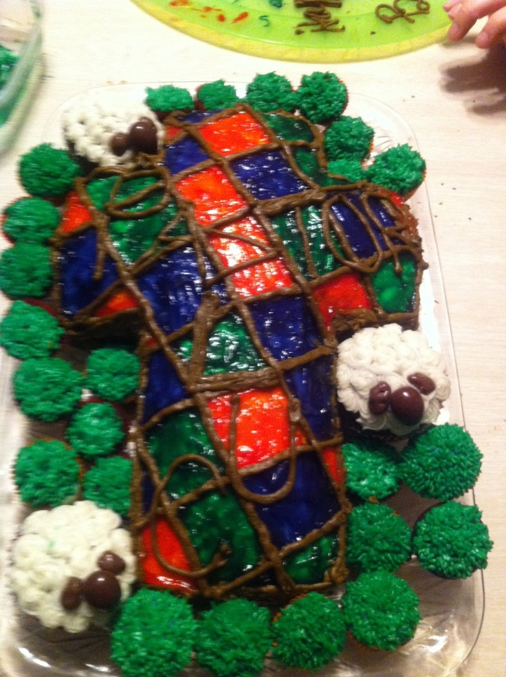 Made this stain-glass cross cake with my lovelies Ashley & Jess!