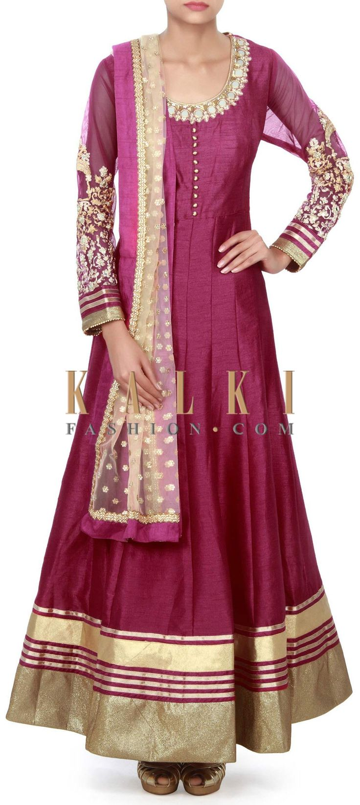 Buy Online from the link below. We ship worldwide (Free Shipping over US$100) Price-$169 Click Anywhere to Tag http://www.kalkifashion.com/rani-pink-anarkali-suit-adorn-in-mirror-embroidery-only-on-kalki.html