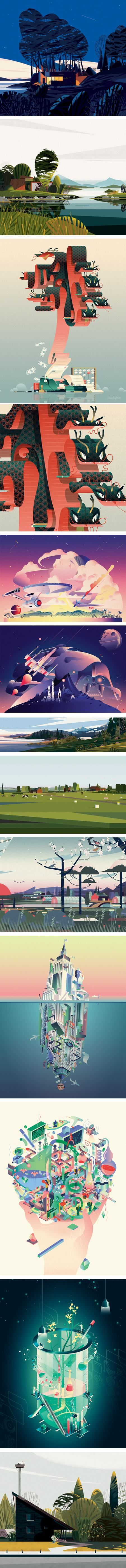 Marie-Laure Cruschi (Cruschiform), Cabins and other vector illustrations