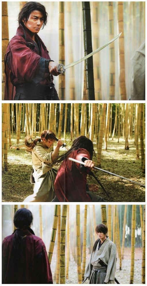 Masaharu Fukuyama and Takeru Sato as Hiko Seijuro and Himura Kenshin in Rurouni Kenshin るろうに剣心