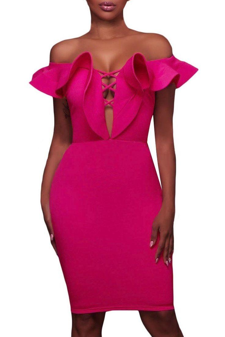 Robe de Soiree Moulante Mi Longue Rosy Collerette Epaule Denudee Pas Cher www.modebuy.com @Modebuy #Modebuy #Rose