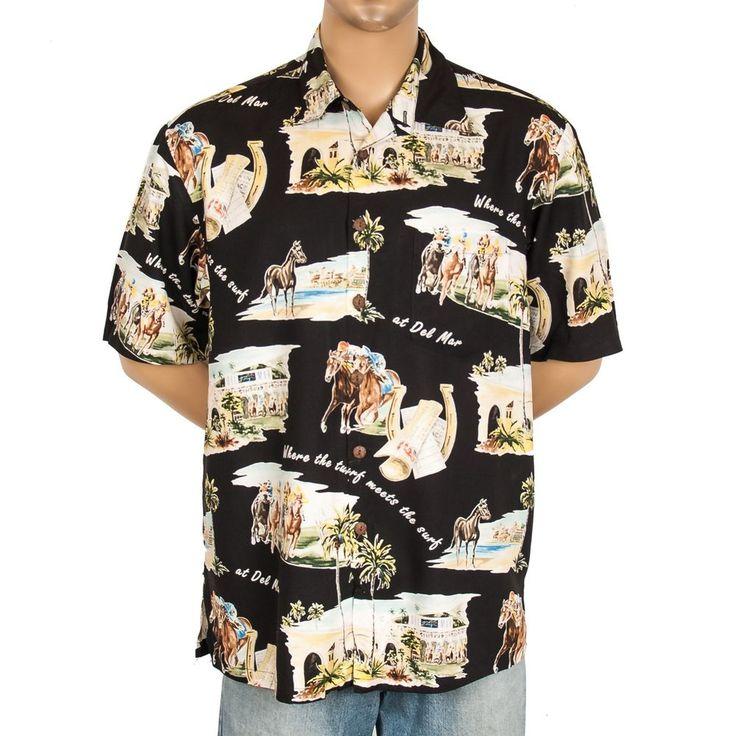 kahala del mar horse racing hawaiian shirt surf meets turf mens camp usa l  somelikeitused