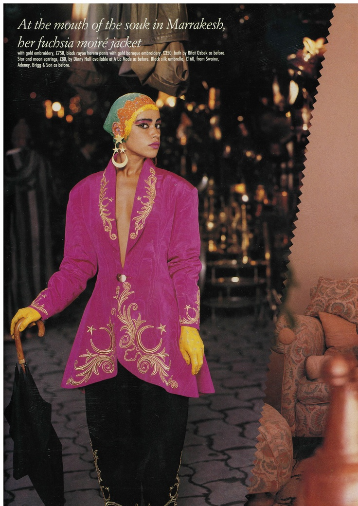 Dinny Hall for Rifat Ozbek 18K Gold Star and Moon Earrings shown in fashion editoral.