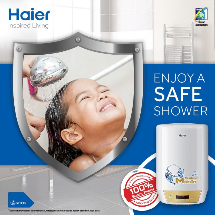 Get Haier's #WaterHeater with shock proof technology to enjoy a safe shower. Its uniquely designed to control electricity leakage and shock accidents. #HaierIndia #Technology #Appliances #Innovation #InspiredLiving