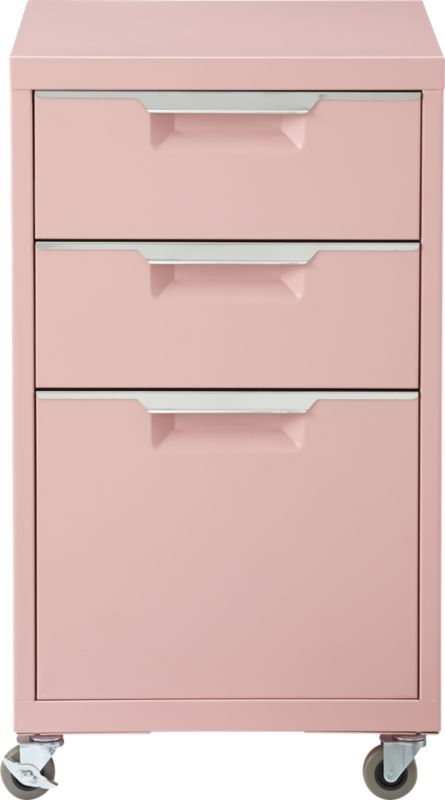 TPS pink file cabinet This is available in the lovely, retro pink, dark grey, or aqua or white...or mint. I like aqua table w/pink or grey file (we might need to change floor tile colors a bit with pink). Or white table, bold color on the walls (maybe red or orange) and aqua file...