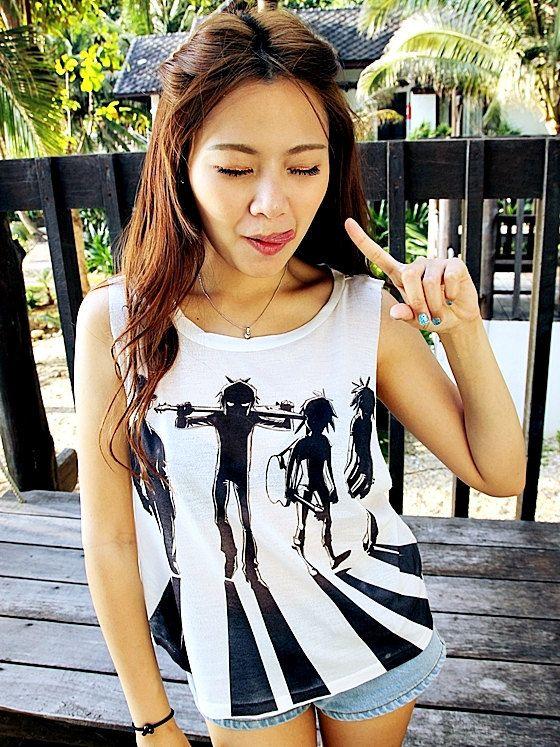 Gorillaz Shirt Women Girl Tank Tops White - Size S M L