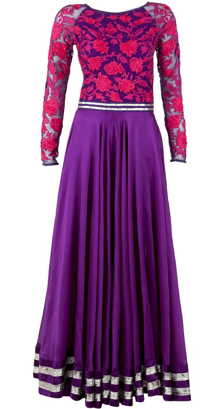 Purple anarkali with embroidered yoke by VARUN BAHL. http://www.perniaspopupshop.com/designers-1/varun-bahl