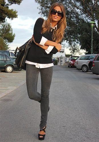 Model Womens Grey Skinny Jeans  Bbg Clothing
