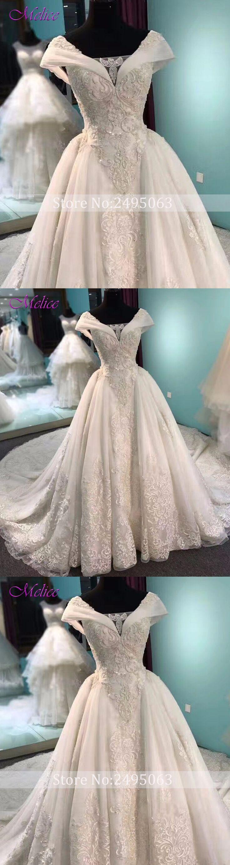 Melice Glamorous Appliques Chapel Train A-Line Wedding Dress 2018 Luxury  Beaded Cap Sleeve Bride a89b7d59e482