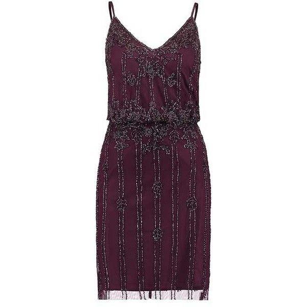 KEEVA DRESS Cocktailklänning burgundy ❤ liked on Polyvore featuring dresses, purple dresses, purple lace dresses, tall dresses, lace dress and beading dress