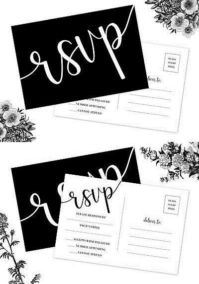 Invitations and Stationery 102469 50 Rsvp Cards, No Envelopes