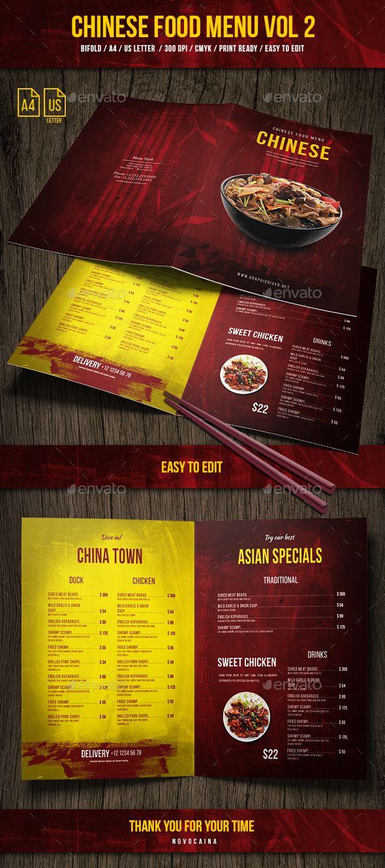 Chinese A4 Us Letter Food Menu Vol 2 Chinese Food Menu Menu Card Design Food Menu