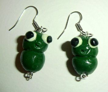 polymer frog earrings