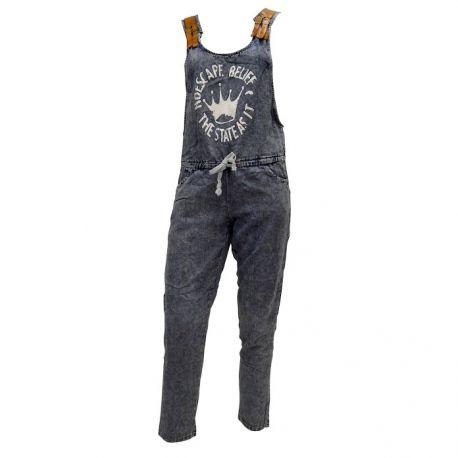 Τζιν σαλοπέτα με στάμπα και δερμάτινες λεπτομέρειες στους ώμους! Ιδανική επιλογή για το απόλυτα ανοιξιάτικο outfit! Jeans woman jumpsuit for the ultimate spring outfit!