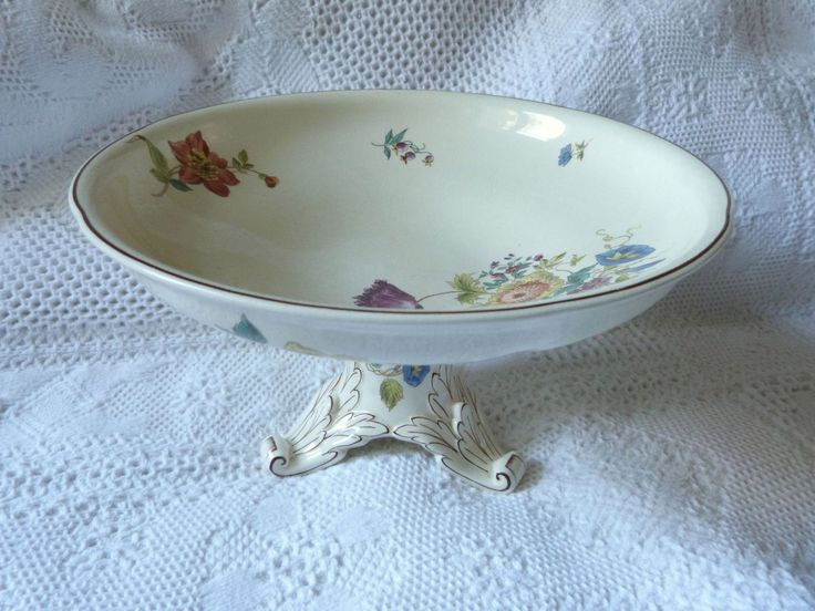 Antique French floral pedestal cake stand plate bowl footed compote dish stand, french faience stoneware fruit stand home kitchen decor by MyFrenchAntiqueShop on Etsy