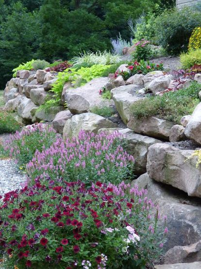 This Flower Packed Backyard Update Is Amazing  Rock YardSloped. 25  best ideas about Rock wall landscape on Pinterest   Terraced