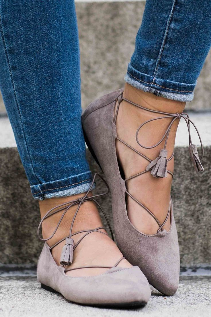 En Pointe Taupe Lace Up Flats at reddressboutique.com