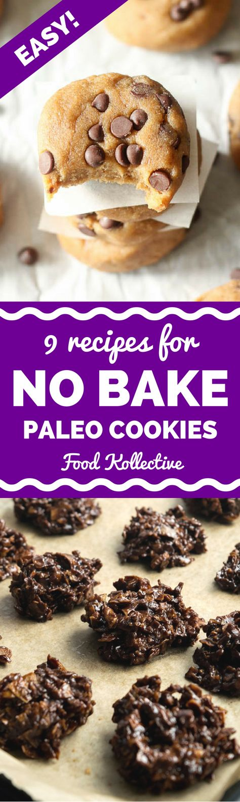 I was looking for no bake paleo cookies and these look incredible! There are recipes for Paleo chocolate chip cookies, Paleo samoa cookies, Paleo white chocolate macadamia nut cookies, and more. No baking required! I can't wait to make these for a Paleo dessert. Collected on FoodKollective.com