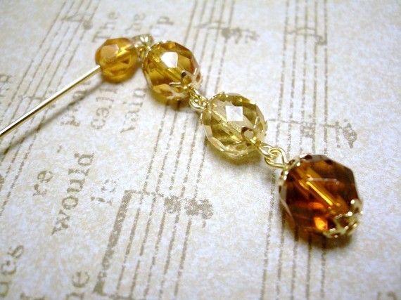 Scarf pin, Shawl Pin, Czech Glass Beads Dangle Hijab pin, Brown Yellow Crystal, Ramadan Eid gift present for her, Hat pin Stick pin