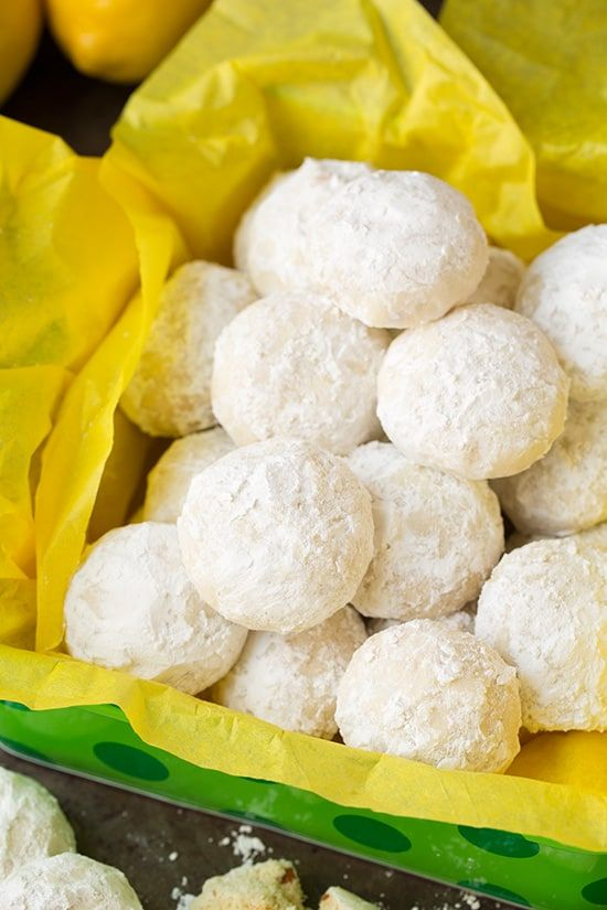 Lemon Snowball Cookies - Ingredients   Report this ad  2 cups (282g) all-purpose flour 3 Tbsp (24g) cornstarch 1/4 tsp salt 1 cup (8 oz) butter, softened 2/3 cup (84g) powdered sugar Zest of 2 lemons (about 4 tsp) 2 tsp lemon extract 1/2 tsp vanilla extract 1/2 cup (68g) finely chopped almonds 1 1/2 cups (180g) powdered sugar, for coating