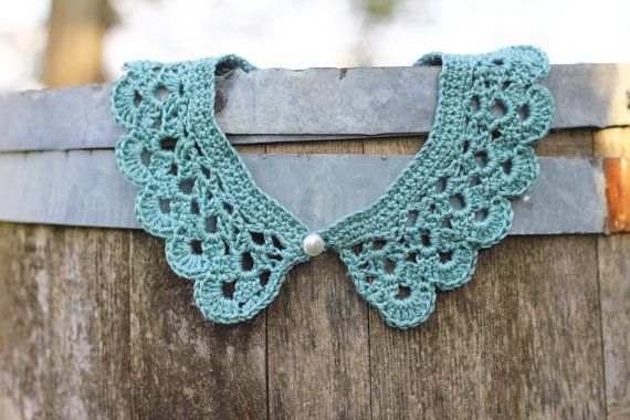 Mint green crochet peter pan collar necklace  aqua by 2knit2purl