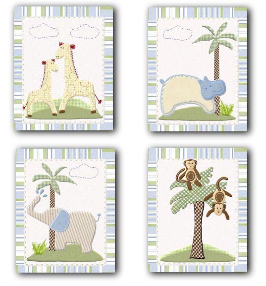 Jungle Friends Nursery Bedding art prints for Pottery Barn Kids baby room (set of 4). $20.00, via Etsy.