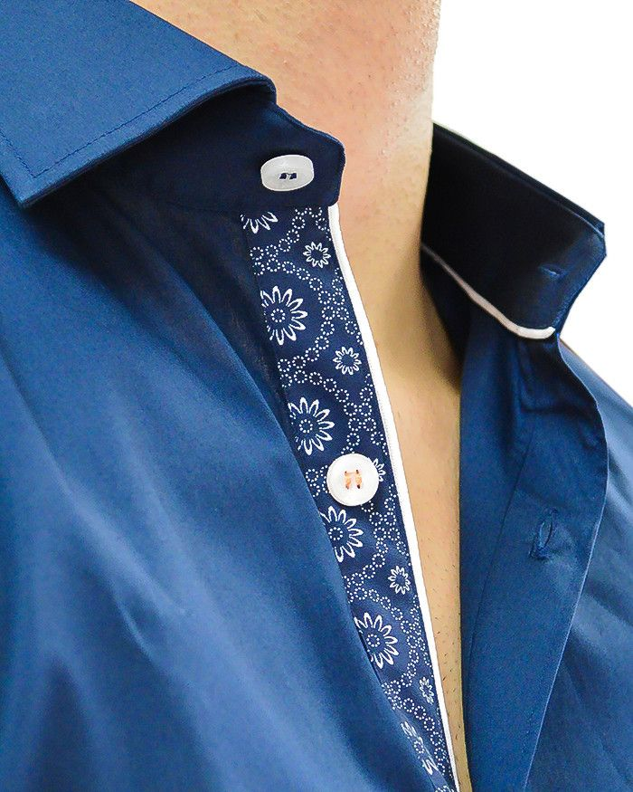 Long Sleeve Navy Designer Dress Shirt | Stone Rose - NAVY