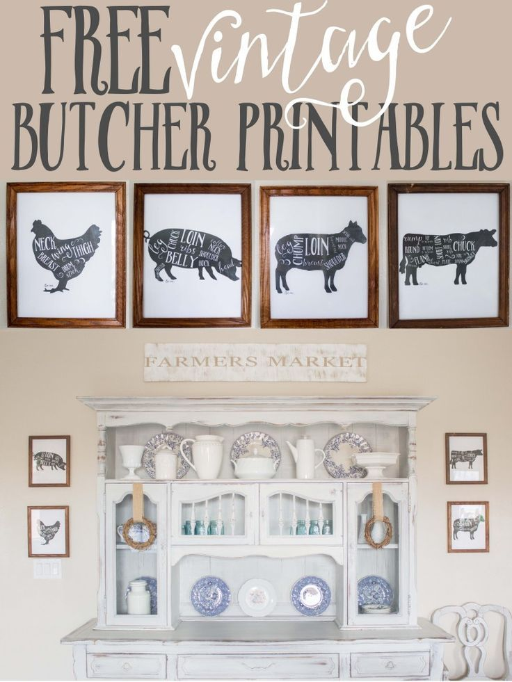 Free Kitchen Printable- four farm animal butcher prints - click  to download (www.ChefBrandy.com)