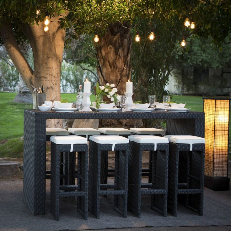 Belham Living Matica All Weather Wicker Bar Height Patio Dining Set   Seats  8   The Avid Outdoor Entertainer Shouldnu0027t Go One More Day Without The  Belham ...