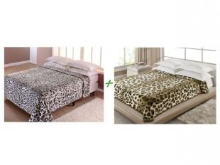 Cobertor Casal Corttex Leopardo - 1 Peça + Cobertor Casal Corttex Onça 1 Peça