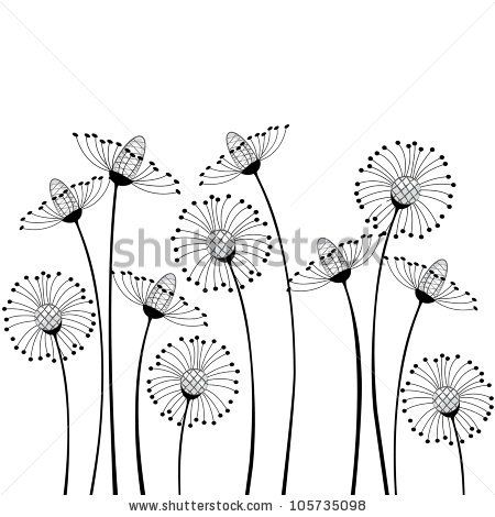 Meadow Flowers On White Background Stock Vector 105735098 : Shutterstock