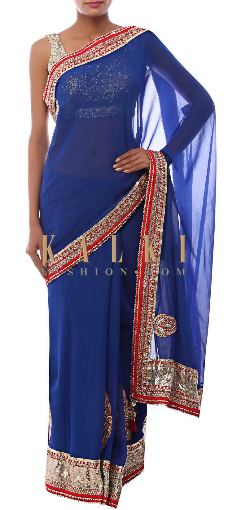Buy Online from the link below. We ship worldwide (Free Shipping over US$100) http://www.kalkifashion.com/classic-blue-saree-enhanced-in-gotta-patti-work-only-on-kalki.html