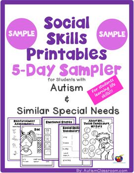 This is a sample of Social Skills Printables for Students with Autism & Similar Special Needs.