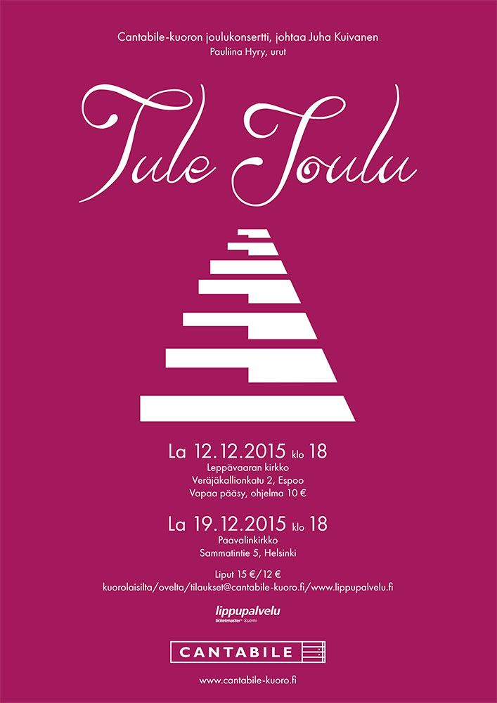 Poster for Cantabile choir's Christmas concerts 2015