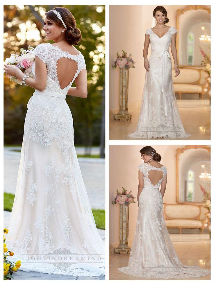 Lace Over Illusion Cap Sleeves V-neck Wedding Dresses with Keyhole Back http://www.ckdress.com/lace-over-illusion-cap-sleeves-vneck-wedding-  dresses-with-keyhole-back-p-410.html  #wedding #dresses #dress #lightindream #lightindreaming #wed #clothing   #gown #weddingdresses #dressesonline #dressonline #bride